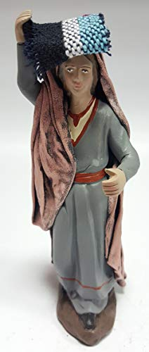 Arte Pesebre Pastora con Alfombra en la Cabeza para Figuras de 12 cm