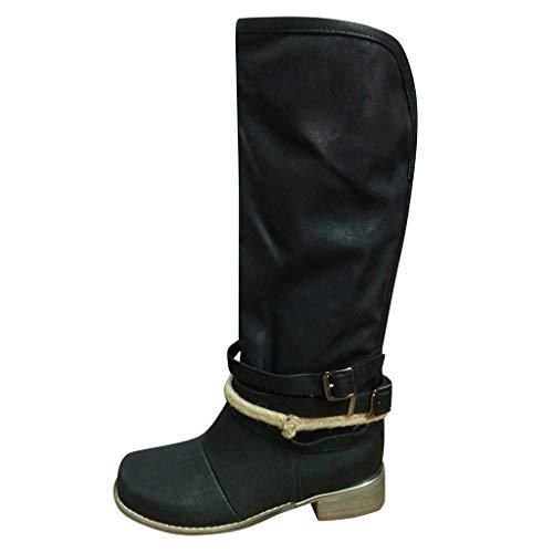 WUSIKY Geschenk für Frauen Stiefeletten Damen Bootsschuhe Boots Kniehohe Schnallenschuhe aus Leder mit Kreuzriemen Cowboy Stiefel mit niedrigem Absatz und Reißverschluss (Schwarz, 39 EU)