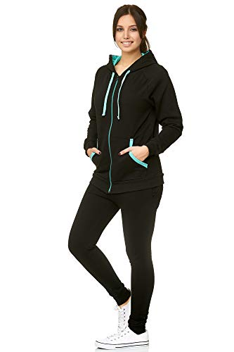 Violento Damen Jogging-Anzug | Uni 704 (L-fällt groß aus, Schwarz-Mint)