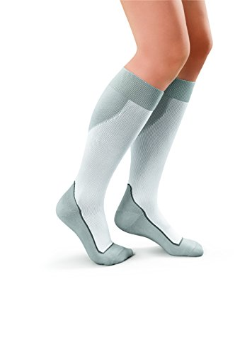 JOBST Sport Knee High 15-20 Mmhg Compression Socks, White/Grey, Large, 4 Ounce