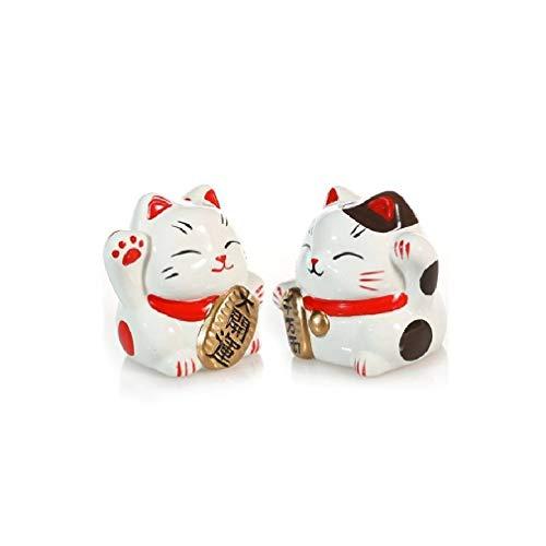 2 Gatos Maneki Neko japoneses – Especial Suerte, protección y Fortuna