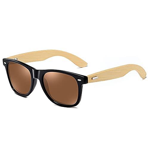 NIUBKLAS Gafas de sol de madera para hombre y mujer, gafas de sol de bambú para hombre y mujer, gafas de sol de viaje, anteojos de templo de madera vintage, marrón1