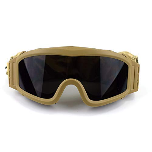 Fouos Military Airsoft Goggles, Tactical Safety Glasses, 3 Interchangeable Lenses, Anti-Fog (Tan)