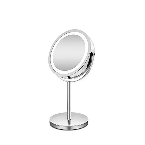 without logo AFTWLKJ 10x Specchio di Trucco da Tavolo ingrandimento con Luce a LED 360 Rotazione Doppia Lato 7inch LED Illuminato Lo Specchio comestico (Color : 10x Magnifying)
