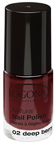 LOGONA Naturkosmetik Natural Nail Polish, Nagellack No. 02 Deep Berry, Tief-roter Beerenton, Dunkelrot, Natürliche Inhaltsstoffe, NATRUE/BDIH zertifiziert, 4ml