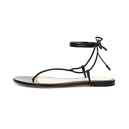 Sandalias Chanclas de Cordones para Mujer, MWOOOK-2249 Sexy Punta Abierta Slingback Tacón Bajo Correa de Tobillo Zapatos de Playa y Piscina,Negro,35 EU