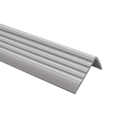 Perfil de borde antideslizante para escaleras, autoadhesivo, perfil en ángulo de PVC, goma ND, 1,1 metros, 40 x 25 mm