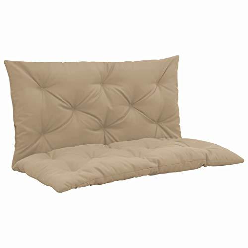 UnfadeMemory Auflage Polsterauflage für Hollywoodschaukel Sitzkissen und Rückenkissen Hollywoodschaukelauflage Schaukelauflage Gartenstuhlauflage Dicke 6 cm (Beige, 100 x 98 cm)