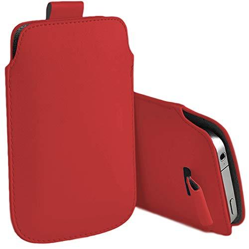 MOELECTRONIX Hülle passend für Gigaset GS195LS   Slim Schutz Tasche Smartphone Schutzhülle mit Lasche   1G ROT