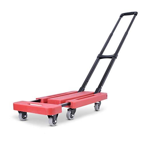 Kerryshop Carritos de la Compra Carro de la Compra portátil Plegable Tire de Las mercancías Pequeño Remolque Carro de la Compra en el hogar Carros Utilitarios Portátiles (Color : Red, tamaño :