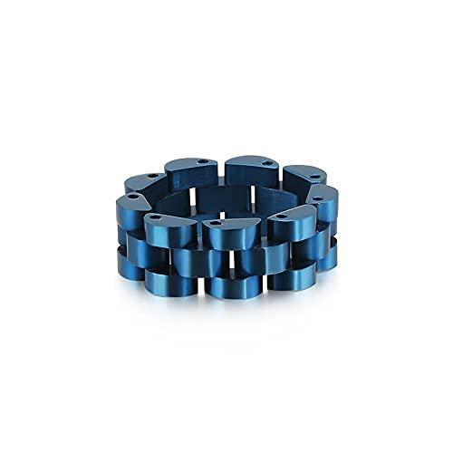 BYYHJNMSXS Anillos Hombre Anillo De Acero De Titanio Diseño De Cadena De Reloj Joyería De Hip Hop Anillo De Viento Simple De Acero Inoxidable para Hombres-Blue_7
