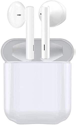 Auriculares Bluetooth inalámbricos IPx5 a Prueba de Sudor Auriculares 3D estéreo a Prueba de Agua Toque Auriculares Deportivos Funciona con Todos los Dispositivos Bluetooth - Blanco