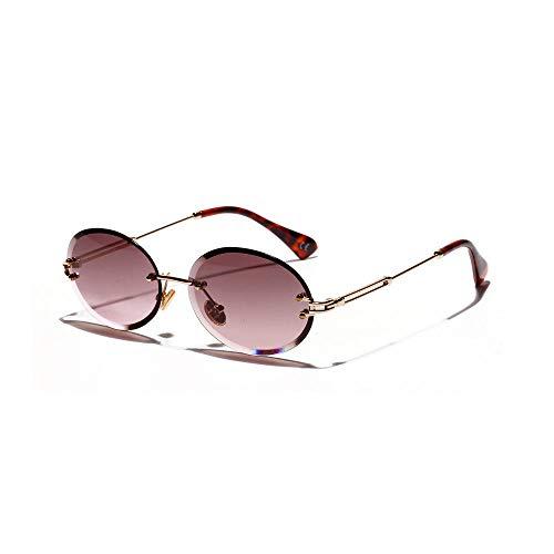 Powzz ornament Gafas de sol sin montura para mujer, montura pequeña, gafas de sol redondas para hombre, gafas de sol de alta calidad, Okulary Vintage, gafas femeninas, morado