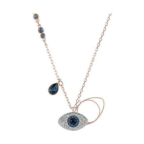Collar ojo del diablo ojos azules mujer clavícula cadena elemento de moda cristal oro rosa
