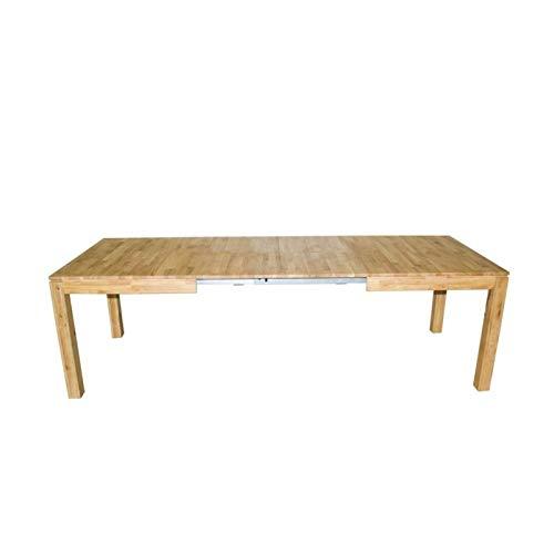 Zons - Mesa de Comedor Extensible (160-290 cm, 6-12 Personas, Madera de Roble Macizo, 290-160 x 90 x 75 cm)