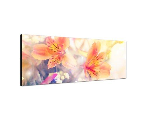 120x40 cm Panorama Wandbild Leinwand (Blume) Panoramabild Bild Bilder Moderne Dekoration zum kleinen Preis! Bild bespannt auf echter Leinwand und Holzkeilrahmen. Made in Germany neu