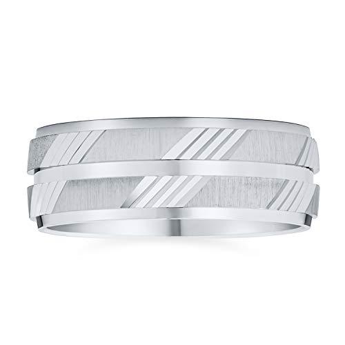 Personnalisez la gravure personnalisée Elegant Unisex Couples Diamond Cut & Stash Striped Pattern Wedding Band Ring For Men Women Brushed Polished Combination Finish .925 Sterling Silver 7MM