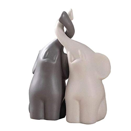 Newin Star Coppie di Ceramica Elephant, Ornamenti Ornamenti Loving Coppia di Animali Sculture Statue Mette Il Regalo per la Moglie e Home Docoration