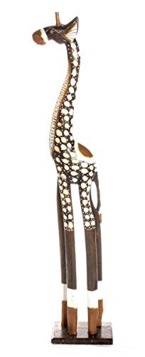 60cm Holz Giraffe Holzgiraffe Deko Afrikanischer Stil im Antik Look Handarbeit aus Bali + Glücksbringer Armband