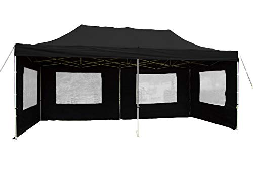 Falt-Pavillon Partyzelt mit Seitenteilen solide Ausführung für Garten Terrasse Feier Markt als Unterstand Plane wasserdichtes Dach 270/m² 3 x 6 m schwarz
