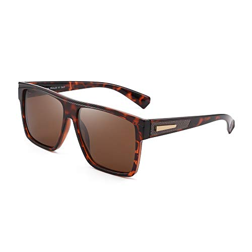JIM HALO Gafas de sol retro polarizadas para hombres y mujeres Gafas de conducción cuadradas con parte superior plana (Montura de tortuga/Lente marrón polarizada)