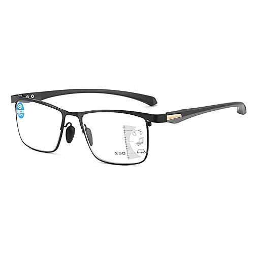 Anti Blauw Licht Leesbril Mannelijke Progressieve Multifocale High Definition Lenzen Met Een Vergrootglas Graad 100-300,+2.50