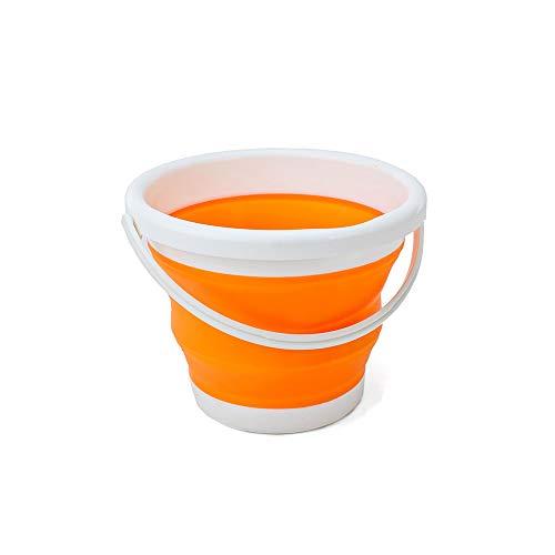 (エーアンドアイ) 折りたたみバケツ おしゃれ シリコン ソフト コンパクト 最大 10L アウトドア 洗車 洗濯 お風呂 SG(1つ オレンジ)