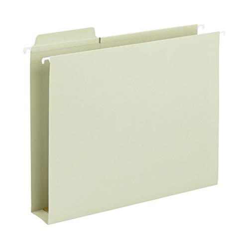 "Smead FasTab Hanging Box Bottom File Folder, 2"" Expansion, 1/3-Cut Built-in Tab, Letter Size, Moss, 20 per Box (64201)"
