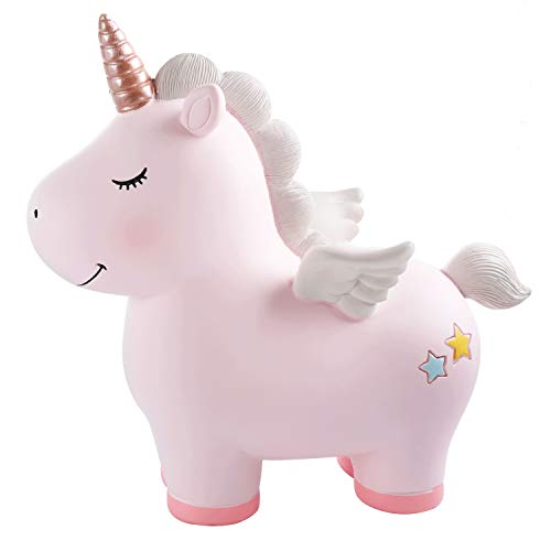 Lovely Rainbow Unicorn Piggy Bank for Girls, Resin Unicorn Piggy Bank Toys, Kid's Money Banks Coin Banks, Unicorn Gifts for 6/7/8 Year Old Girls, Best Christmas Birthday Gifts for Kids