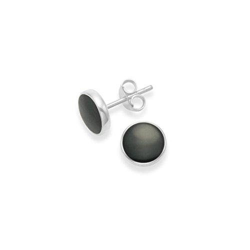 Heather Needham zilver, oorstekers, sterling zilver, ronde onyx - grootte: 8mm (0,8 cm) zilveren oorbellen met zwarte onyx in geschenkdoos 5778ON