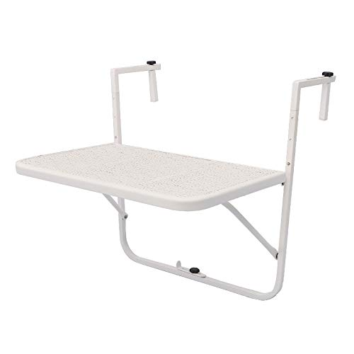 LWZ Folding Hanging Balcony Table Iron Garden Coffee Table Portable Patio Railing Dining Table Adjustable Outdoor Picnic Table