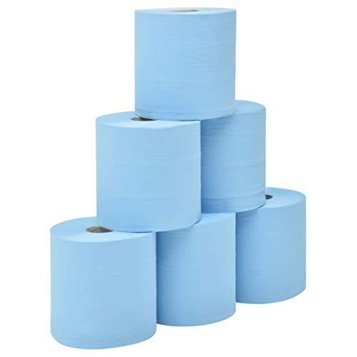 Festnight 2-lagige Industrielle Papier-Wischtücher 6 Rollen 20 cm Blau