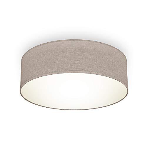 B.K.Licht Plafoniera in tessuto, Lampada da soffitto diametro 30cm color grigio-talpa, attacco per lampadina E27 non inclusa, Lampadario moderno per salotto o camera da letto, IP20