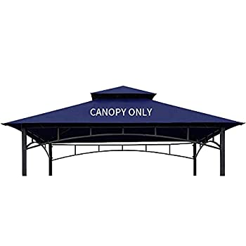 CoastShade 8 x 5 Grill BBQ Gazebo Double Tiered Replacement Canopy Roof Outdoor Barbecue Gazebo Tent Roof Top(Navy Blue)