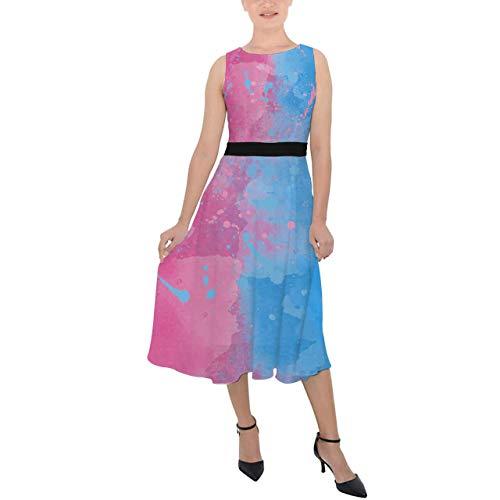 Rainbow Rules Vestido Midi de Gasa con Cinturón - Rosa o Azul Inspirado en la Bella Durmiente - rosa - X-Small