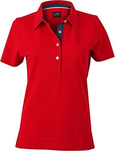 James & Nicholson Damen Ladies´ Plain Polo Poloshirt, Rot (Red/Dark-Denim), 36 (Herstellergröße: M)