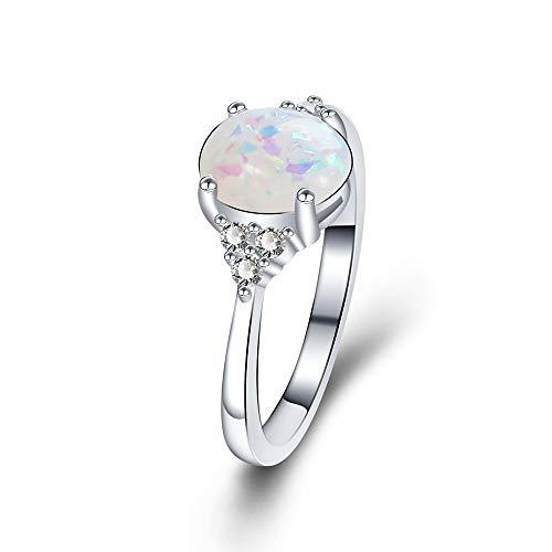 Yazilind Damen schmuck Ring Versilberung Vintage Marquise mit Zirkonia Steine mit Opal (16,6)