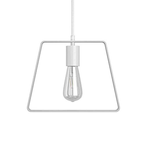 Lámpara Colgante Cable Textil, Bombilla, Pantalla Duedi Base y Acabados en Metal - No, Blanco