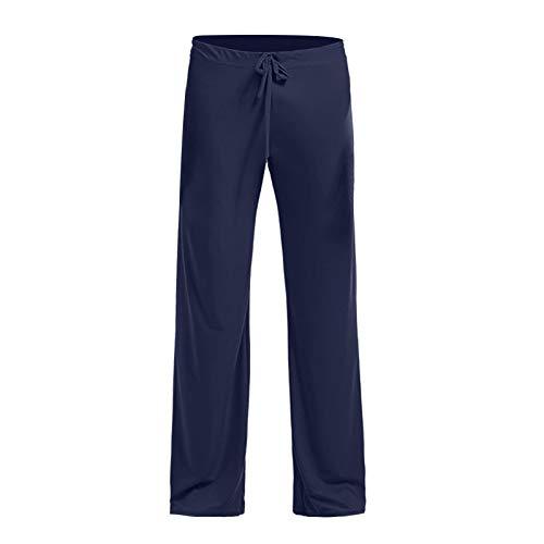 jieGorge Pantalones, Pantalones caseros para Hombres Pantalones de Yoga Pantalones caseros de Tela de Seda Helada Pantalones Rectos, Ropa para Mujeres (XL Azul Marino)
