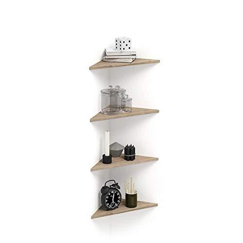 Mobilifiver Set di 4 Mensole ad Angolo Easy, Quercia, 36 x 36 x 51 cm, Nobilitato, Made in Italy