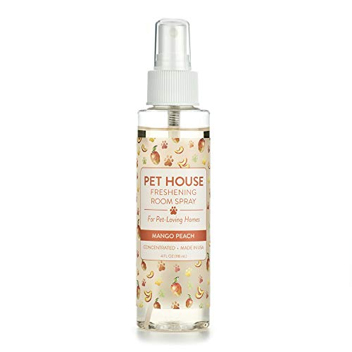 One Fur All Pet House Pet Friendly Freshening Room Spray in 6 Fragrances - Non Toxic - Concentrated Air Freshening Spray Neutralizes Pet Odor – Effective, Fast-Acting – 4 oz - (Mango Peach)