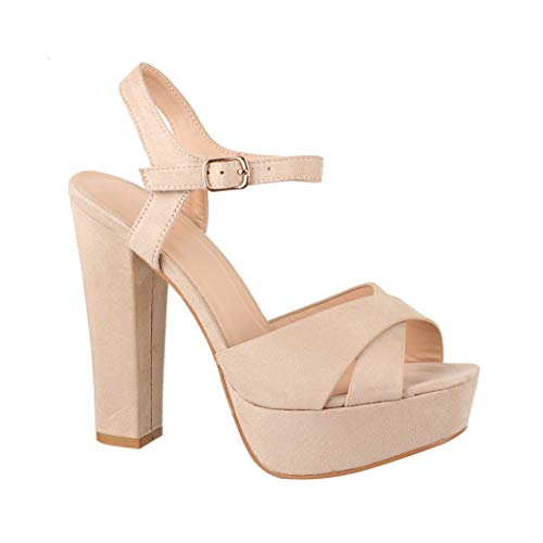 Elara Damen Pumps Bequeme Peep-Toe Pumps Trendige Plateau High Heels Chunkyrayan P AT0985 Beige-38