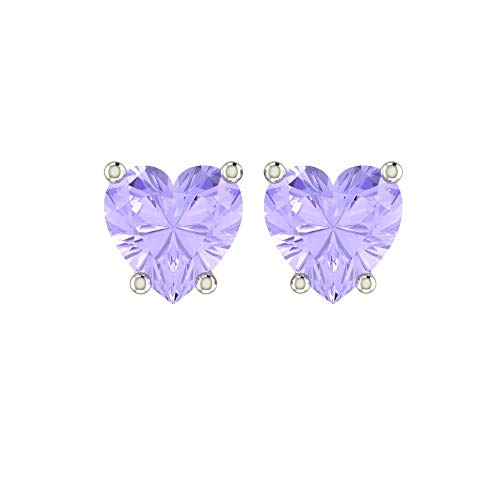 Solid Sterling Silver 5mm Heart Shaped 1.45 Carat Lavender Cubic Zirconia Stud Earrings, High Polished CZ Earrings with Push Backs