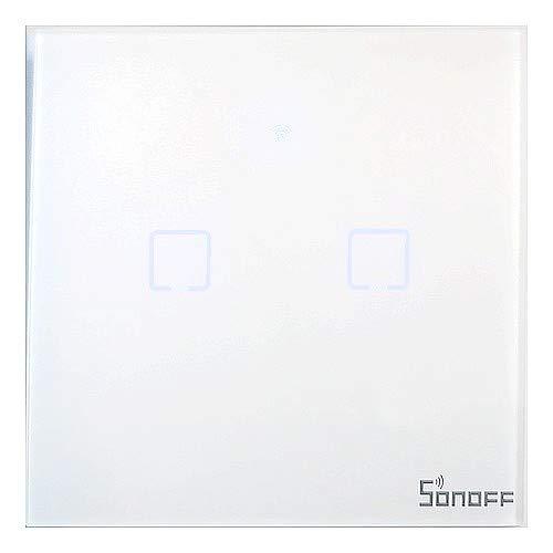 Sonoff T1 EU2C - Interruptor de pared doble Wi-Fi con temporizador táctil (433 MHz)