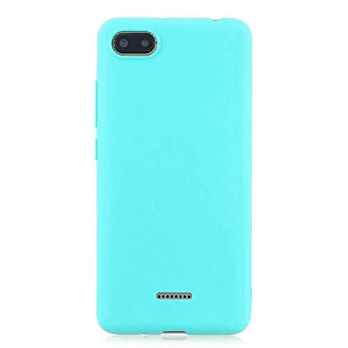 cuzz Funda para Xiaomi Redmi 6A+{Protector de Pantalla de Vidrio Templado} Carcasa Silicona Suave Gel Rasguño y Resistente Teléfono Móvil Cover-Azul Claro
