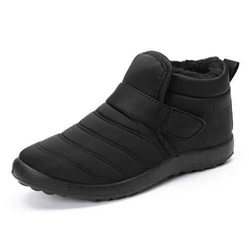 gracosy Botas Nieve Mujer Zapatos de Invierno Fur Forro Calentitas Botines Antideslizante Peso Ligero Plano Corto Botas Velcro Cómodo Casual Caminan