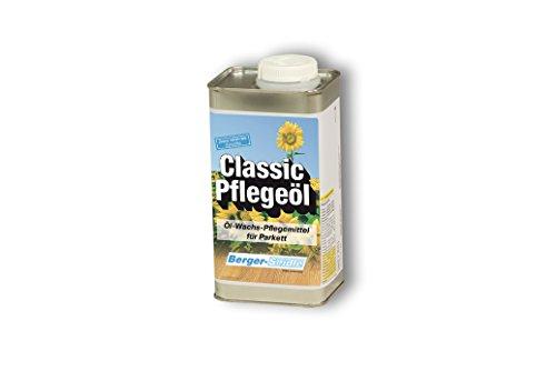 Berger-Seidle Classic Verzorgingsolie, natuurlijk wit, 1 liter, voor het onderhoud en naimpregneren van geolied parket, houten vloeren, kleurloos