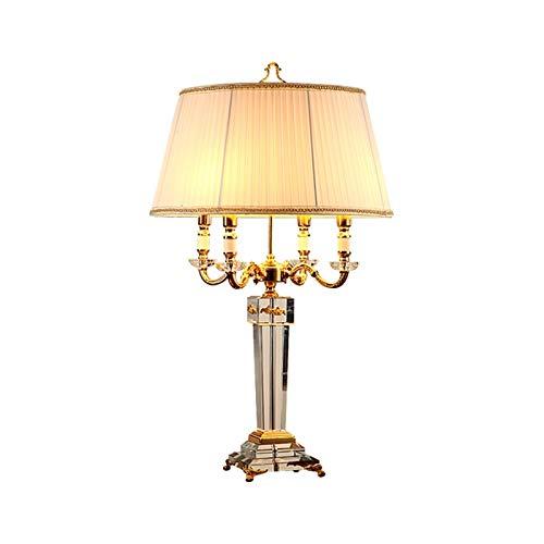 Lampara Moderna Lámpara de mesa tradicional Cuerpo de cristal Beige Tambor cónico Shade E14 Lámpara de mesa de cristal para sala de estar Dormitorio de noche Note de noche Oficina Familia Lámparas de