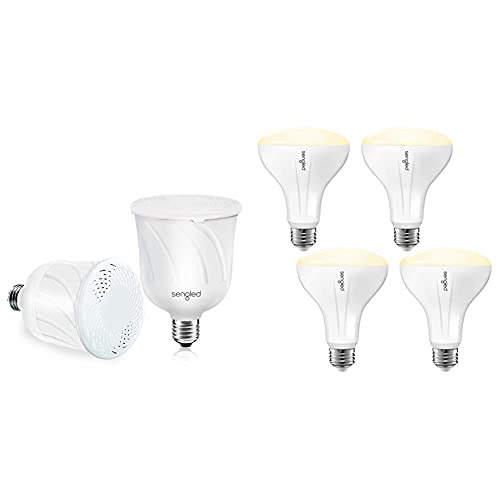 Sengled Pulse LED Smart Bulb with JBL Bluetooth Speaker, 2 Pack & Smart Light Bulb Compatible with Alexa and Google Home, BR30 Dimmable Soft White 2700K, 4 Pack
