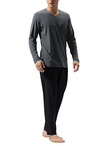 DAVID ARCHY Men's Cotton Sleepwear Tall PJs V-Neck Lounge Wear Top and Bottom Long Pajamas Set (XL, Dark Gray-Black)